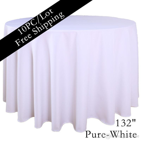 White Hotel Table Linen 132 Inch Round Seamless Table Linen Home Textile Fabric Dining Tablecloth Tea Cloth Table Cloth For Sale Linen Tablecloths