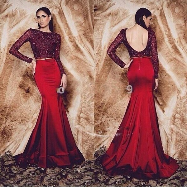 Elegant Dark Red Sequined Long Sleeves Evening Dresses 2017 Backless Mermaid Satin Prom Dress Formal Party Gown Floor Length Custom made