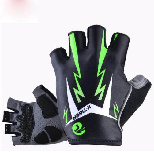 3D гель Pad ярко-зеленый Спортивные перчатки с отражающей половина палец MTB велосипед перчатки Велоспорт перчатки горный велосипед перчатки