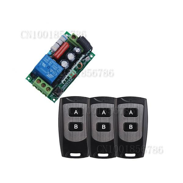 Wireless Remote Control Light Switch Relay AC220V 1CH 10A with 3pcs Waterproof Transmitter