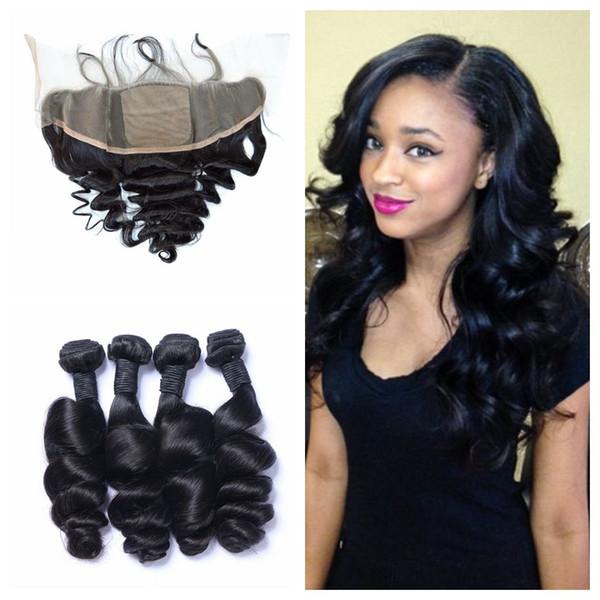 100% human hair brazilian human hair loose wave 4 bundles with silk base lace frontal closure 5pcs lot no shedding no tangle LaurieJ Hair
