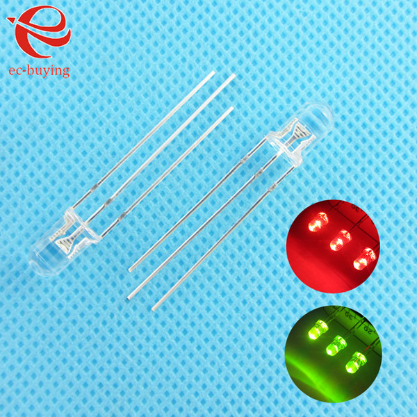 Wholesale-3mm LED Bi-Color Transparent Common Cathode Round Light Emitting Diode Two Dual Red Green Plug-in Practice DIY Kit 50 pcs/lot