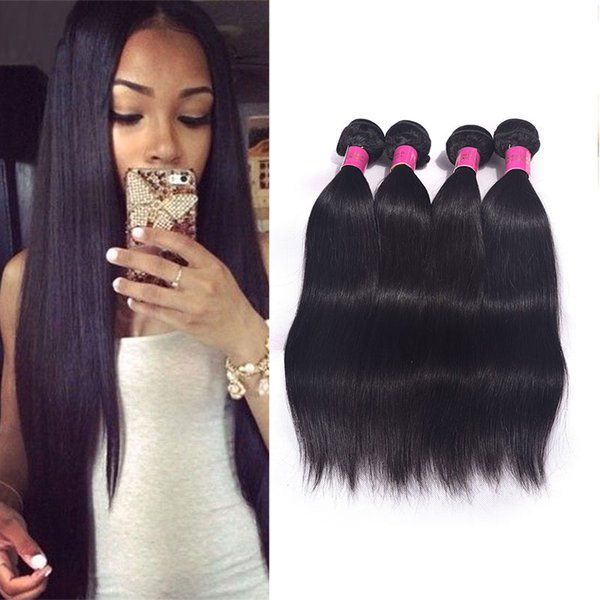 Malaysian 6A Grade Straight Closure 4 Pcs Hair Bundles With 1Pc Lace Closure Natural Color Malaysian Weaves Extensions Dyeable Straight Hair
