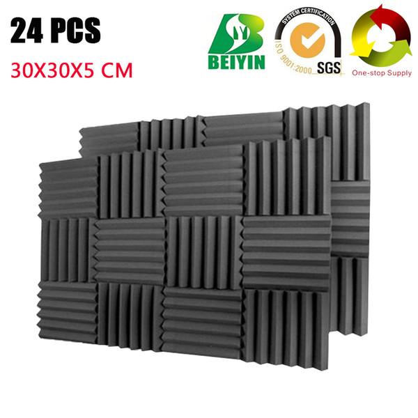 top popular 24PCS Wedge Pro Audio Acoustic Treatment Foam Recording Studio Sound insulation Wall Panels Fireproof Soundproof Board 30*30*5CM 2021