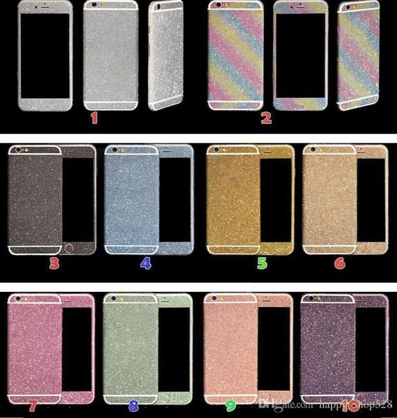 Luxo full body bling diamante brilhante glitter rainbow frente parte traseira da tampa da etiqueta da pele para iphone 6 6g 6 plus 4 4S 5 5G 7 7 p 5 S 50 pcs