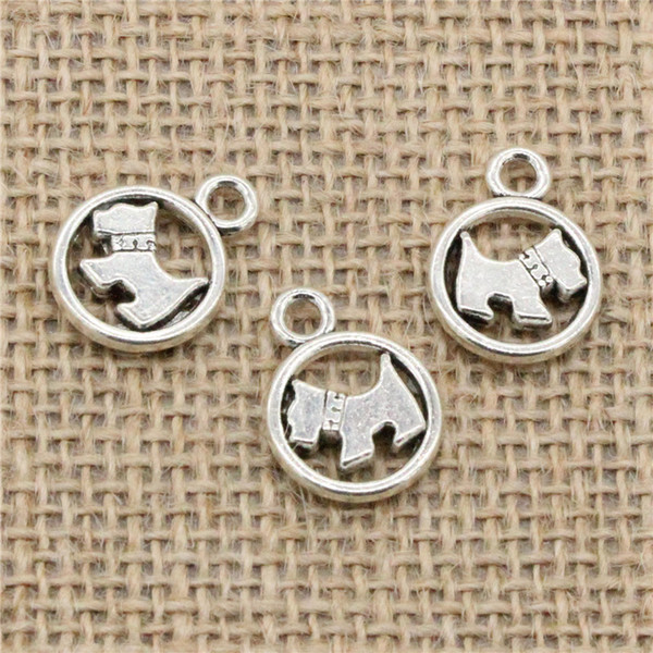 Wholesale 55pcs Charms Tibetan Silver/Antique Bronze Plated circle scotty dog 15mm Pendant for Jewelry DIY Hand Made Fitting