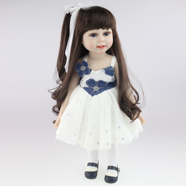 18'' 45CM American Sweet Girl Doll Reborn Baby Dolls Full Handmade Full  Vinyl Baby Toys Best Girls Gift DIY Bjd Sex Bjd Doll Baby Baby Dolls
