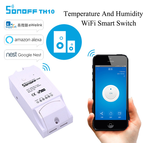 ITEAD Sonoff TH10 Temperature Humidity Monitor DIY Timer Wifi Switch Home Wireless Intelligent automation module Smart Switch