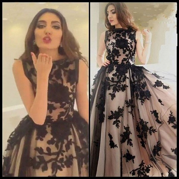 top popular Top Sale Vintage Prom Dresses 2016 Black Appliques Champagne Jewel Sleeveless Floor Length Formal Tulle Party Dresses 2019