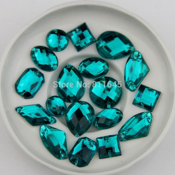 100pcs Mix size Turquoise color Sewing Rhinestone Sew On Acrylic Flatback mix shape Gems Strass Stones For Clothes Dress Crafts