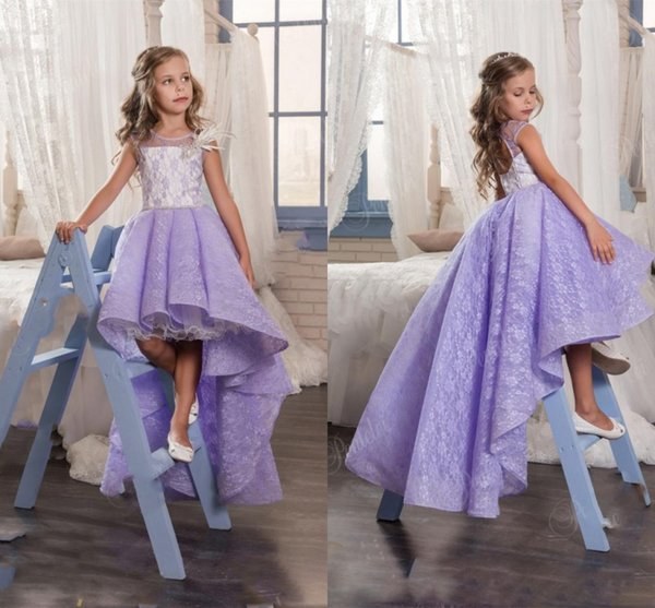 Cute Lilac Lace High Low Flower Girl Dresses For Wedding Lavender Crew Backless Girls Pageant Gowns Baby Prom Party Dresses Custom Made