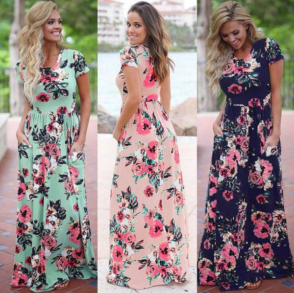 top popular Women Floral Print Short Sleeve Boho Dress Evening Gown Party Long Maxi Dress Summer Sundress 10pcs OOA3238 2019