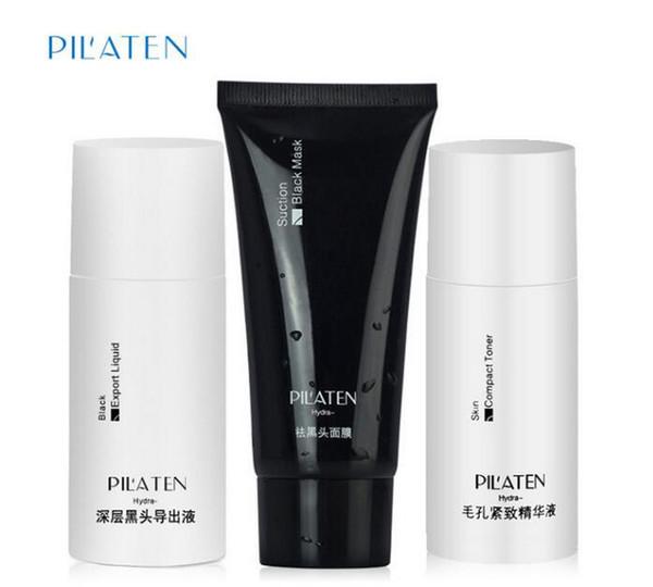 PILATEN Blackhead Remover Mask+Black Head Export Liquid+Skin Compact Toner Pilaten Pore Cleaner 3pcs/Set DHL Free