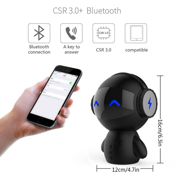 Newest DingDang Cute M10 portable Robot Bluetooth Speaker Stereo Handsfree with power bank AUX MP3 Music Player free shipping