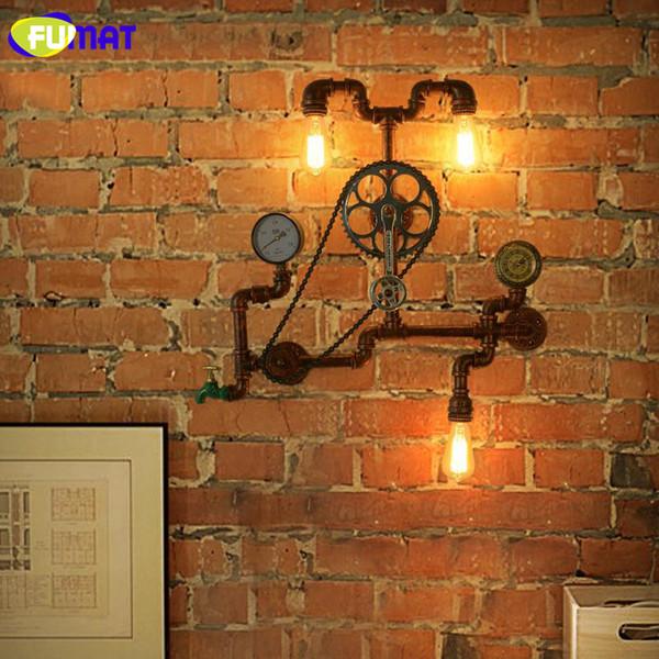 FUMAT Retro Water Pipe Gear Wall Lamps Industrial Creative Art Iron Wall Sconces Loft Cafe Bar Aisle Wall Light