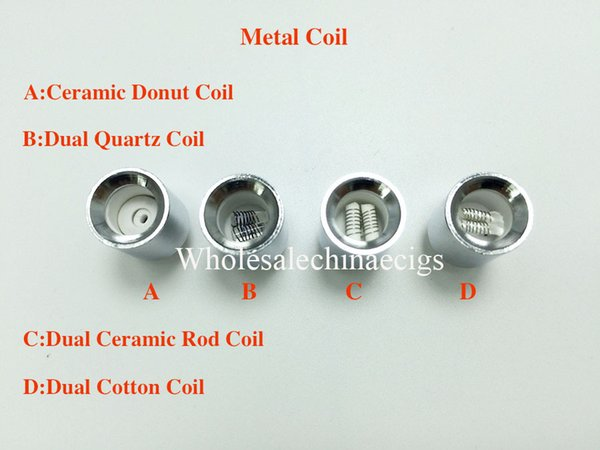 Dual Quartz Wax replacement Metal Ceramic Donut Coil Core for cannon bowling vaporizer glass globe dry herb straight tube Atomizer Ecigs