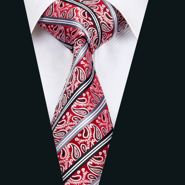 GIFTS FOR MEN Classic Paisley Floral Mens Silk Necktie Formal Work Tie Red White