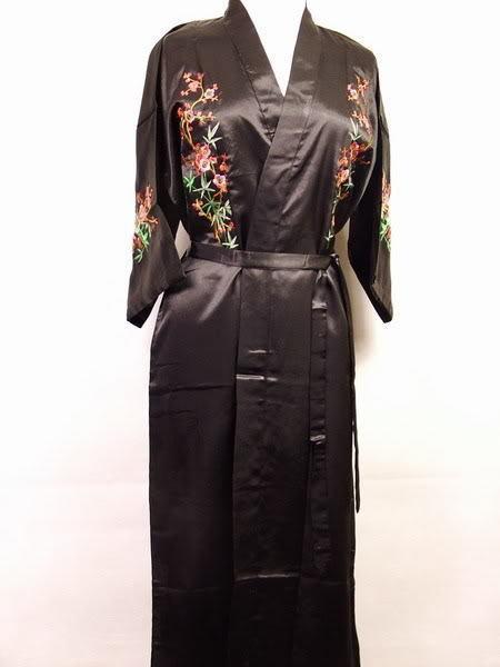 Wholesale-Hot New Lady Satin Bathrobe Night Gown Embroidered Sleepwear Kimono Gown Floral Lounge Wear Dropshipping Size S To XXXL S016