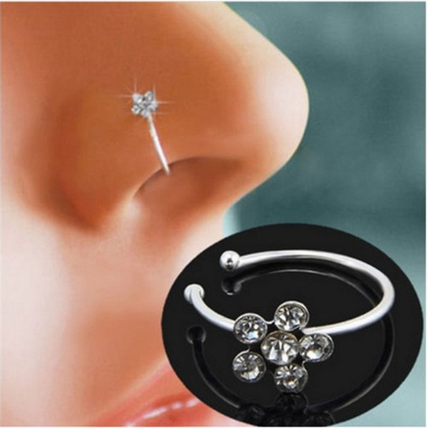 Piercing Nose Ring Indian Flower Nose Stud Hoop Fake Septum Clicker Piercing Nariz Nose Clip Rings Body Piercing Jewelry