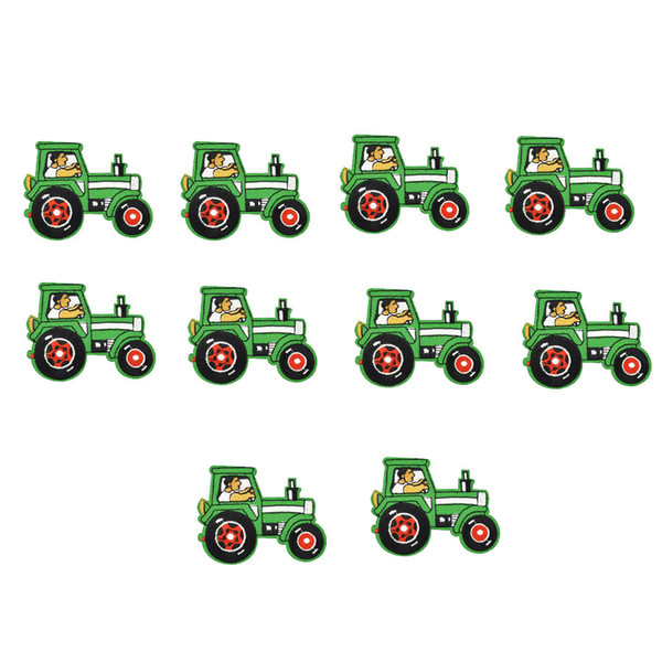 10PCS tractor embroidery patches for clothing iron patch for clothes applique sewing accessories stickers badge on cloth iron on patches DIY
