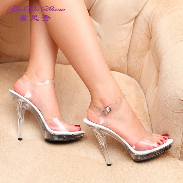 2017 summer fashion transparent crystal shoes sandals fine with women's shoes high heels leather belt buckle show model shoes