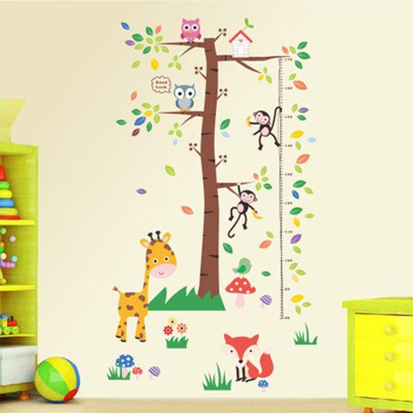 Großhandel Großer Baum Cartoon Tiere Höhe Herrscher Wachstum Diagramm  Wandtattoos Kinderzimmer Kindergarten Dekor Wandaufkleber Kunst Gras  Giraffe ...