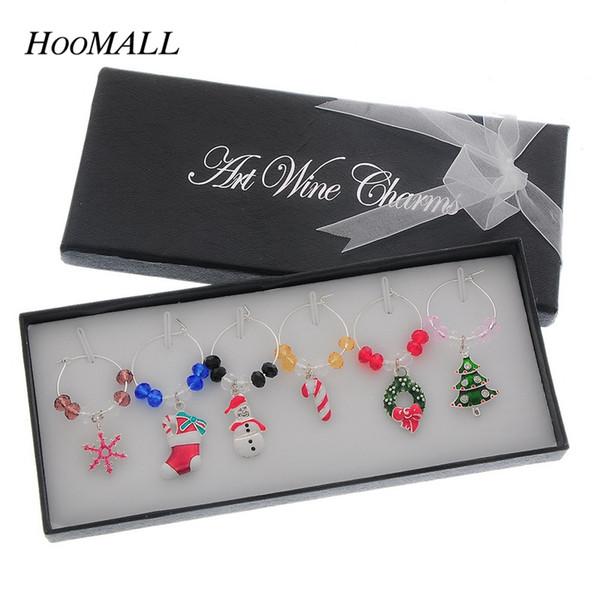 Wholesale- Hoomall Brand Wine Glass Marker Crystal Christmas Motif Pendant Wine Glass Charms Christmas Dinner Table Decoration navidad 1Box