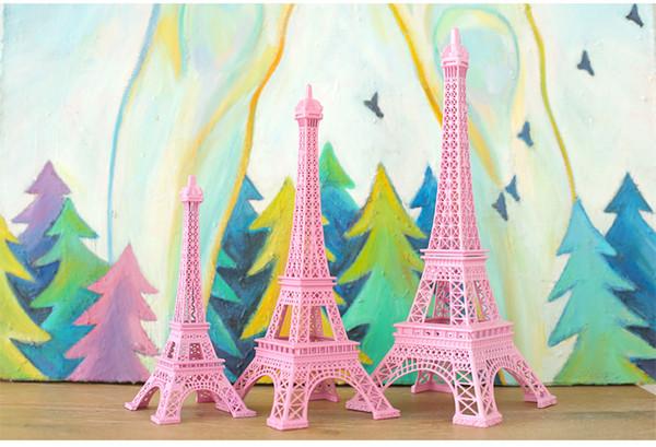 Romantic Pink Paris 3D Eiffel Tower model Alloy Eiffel Tower Metal craft for Wedding centerpieces table centerpiece 10cm 18cm 25cm 30cm tall