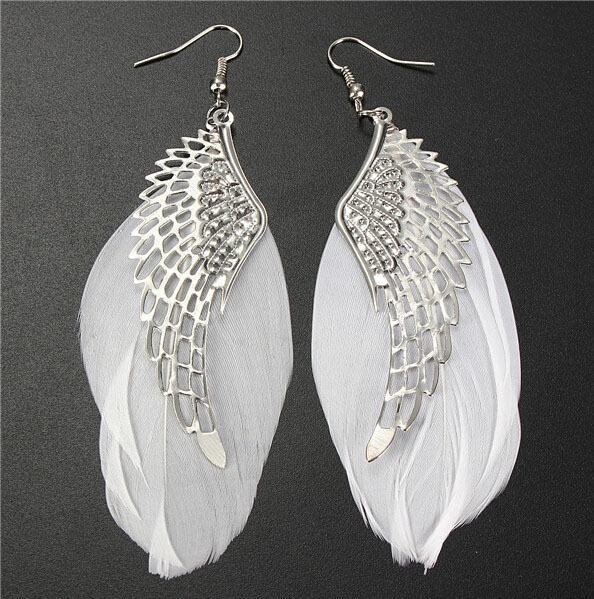 Wholesale-2016 Hot Selling Alloy Angel Wing Feather Dangle Earring Fashion Jewelry Chandelier Drop Long Earrings for Women Gilrs