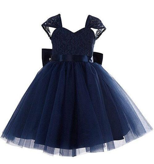 2017 Dark Navy Blue Flower Girls Dresses Ball Gown Tulle And Lace Real Photo Children Pageant Dress For Kids