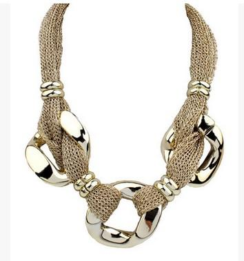 Fashion Women Geometric Accessories Net Cloth CCB Ring Buckle Bib Statement Necklace Jewelry Chokers Necklace For Wedding Birthday Presents