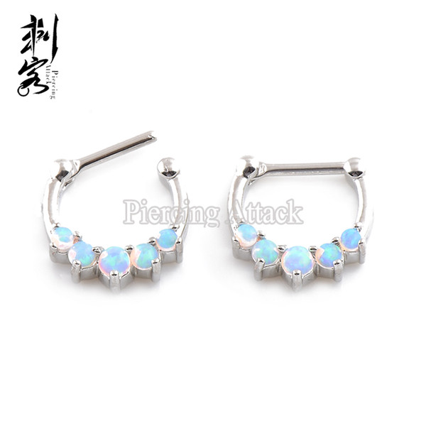 Septum Clicker Nose Ring Nose Hoop 2016 New Arrival Opal Set Fashion Piercing Body Jewelry Free Shipping Wholesale Lot of 2pcs