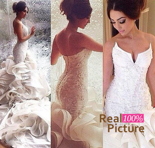 best selling Custom Made Hot Sale Sexy Mermaid Wedding Dresses Lace Up Organza Chapel Train Lace Applique Bridal Gowns Cheap Plus Size