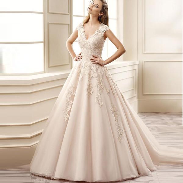 2017 Elegant V Neck Ball Gown Vintage Wedding Dress Appliques Lace ...