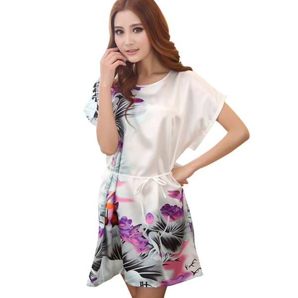 Wholesale-Women sexy lingerie Women nightwear Ladies Faux Silk Robes Skirts Sleepwear Multi Color Nightgown Hot