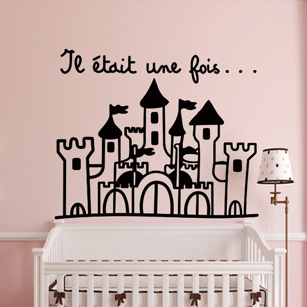 French Princess's Castle Removable Vinyl Decal Art DIY Wall Stickers For Kids Room Home Decor FQ0008