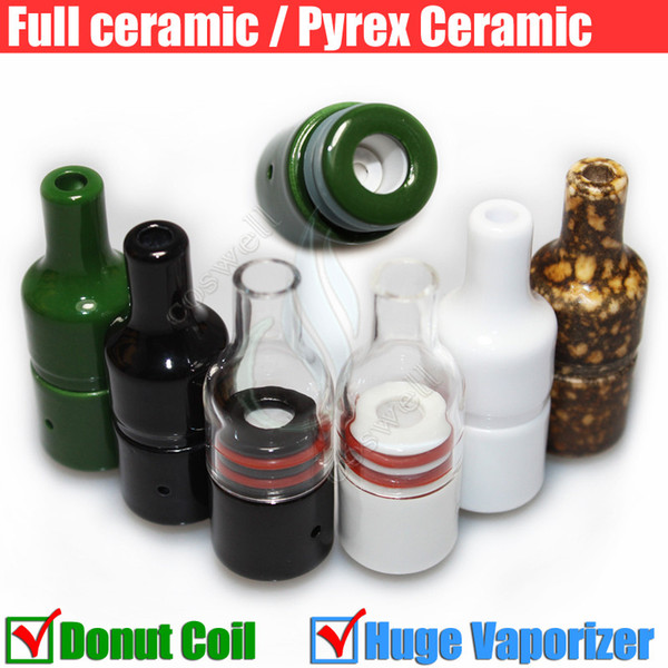 The Kiln RA Full Ceramic Glass Wax Atomizer Donut Wickless Coils Herbal Pyrex Dry herb Vaporizer Tank Hookah Cannon Atmos Vape Pen Vapor DHL
