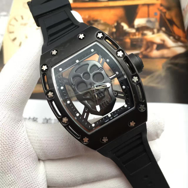 Fashion watches men sports wristwatch rubber band watch man Quartz Relojes Sport Watches Men Skull Watch Casual Skeleton Watch reloj hombre