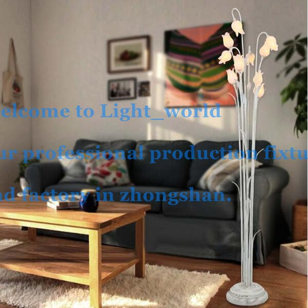 Floor Lamp Modern Fashion Europe Art Copper Wrought Iron Glass Flowers LED Living Room
