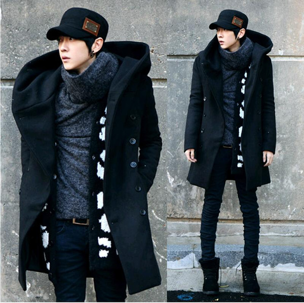 2017 mode hiver hommes caban avec capuche double boutonnage long manteau en laine manteau hommes pardessus gris noir plus la taille M-3XL