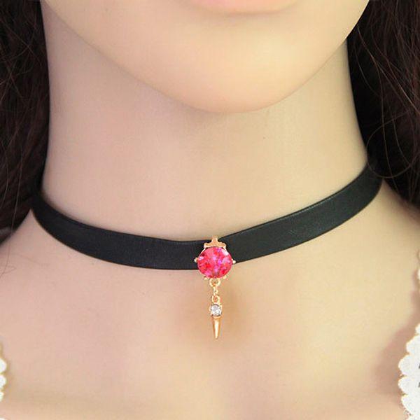 Sıcak Siyah Deri elmas ışıltı chocker kolye Elmas kolye Kolye Zinciri dantel yaka perçin ücretsiz kargo