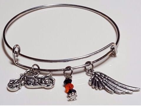 Motorcycle &Angel Wing Crystal Beads Charm Expandable Wire Bangles Vintage Silver Cuff Bangles For Women Jewelry Fashion Couple Accessories