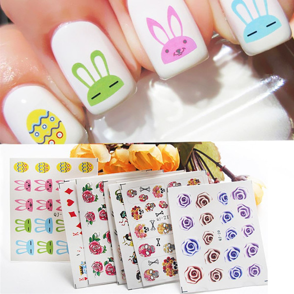 Qj-13-21 Qj Posted A Small Stick Stick Manicure Water Nail Decals Wholesale Candy Color Cartoon Ctue Nail Stickers Free Shipping