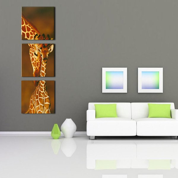 2019 3 Panel Decoration Wall Decor Art Affrican Natural Animals Giraffe  Painting Photo Print Stretched Ready To Hang For Living Room Bedroom From  ...