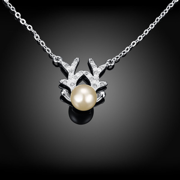 2017 Christmas Pendant Necklace Christmas Deer Horn Pearl Necklace Silver Plated Zircon Pendant Necklace Best Xmas Gift for girls women