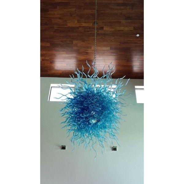 Longree Blown Glass Blue Chandelier Fashion Design Style Murano Blue Glass Tube Villa Hotel Decor Chandelier with LED Bulb