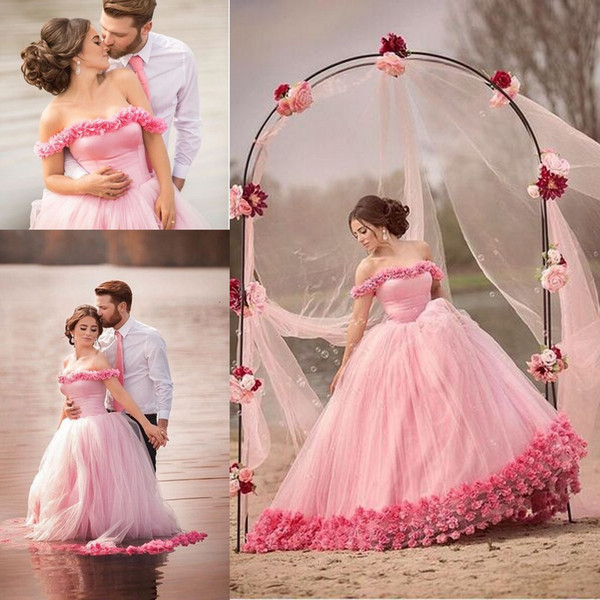 Pink 3D Floral Princess Corset Wedding Dresses 2018 Ruffles
