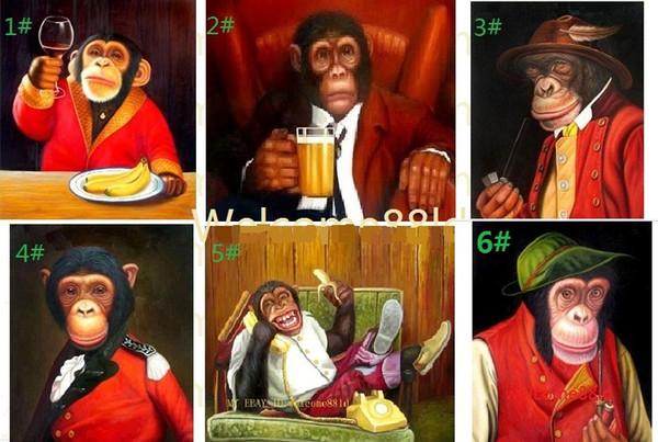 Lovely Little Monkeys, Pure Handmade Animal Portrait Pittura a olio di arte su tela, scegliere tra le immagini con dimensioni personalizzate accettate