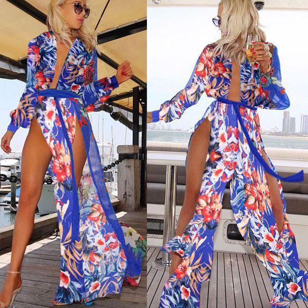Sexy High Split Two Side Long Women Dress Deep V Neck Long Sleeve Beach Holiday Dress Printed Chiffon Casual Dress Hot Sale 2016 Summer