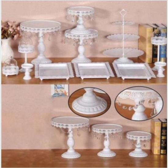 12x Decor Glass White Top Cake Stand Round Metal Wedding Party Cupcake Tower